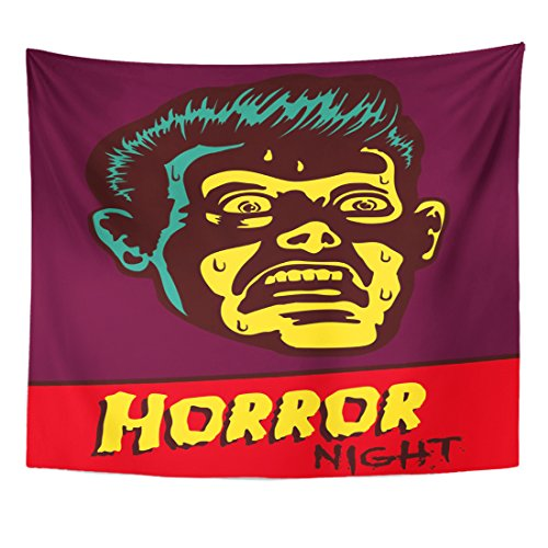 TOMPOP Tapestry Horror Night Halloween Party Movie Event Terrified Vintage Man Home Decor Wall Hanging for Living Room Bedroom Dorm 50x60 -