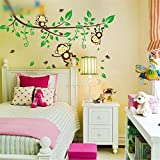 Vinyl Art Lovely Cute Jungle Monkey Play Wall Stickers Decals Nursery Kids Room Decoration