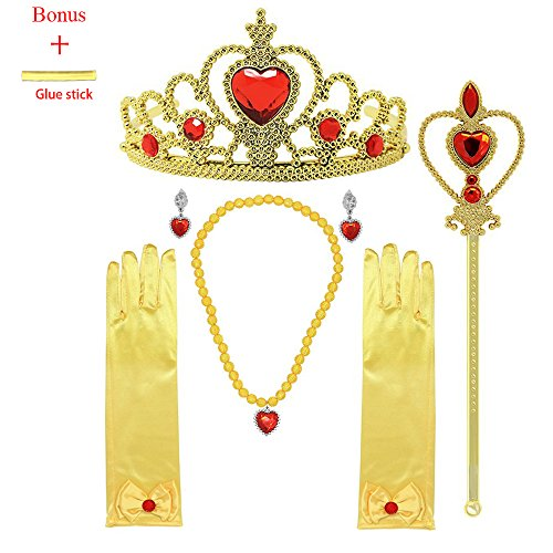 (MISS FANTASY Princess Dress up Accessories for Belle Cosplay Queen Jewelry Set Good for Halloween Party Girls Birthday Party Pack Include Tiara Wand Gloves Necklace Earrings)