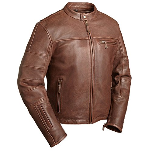 First Manufacturing Men's Manchester Motorcycle Jacket, Brown, 5X
