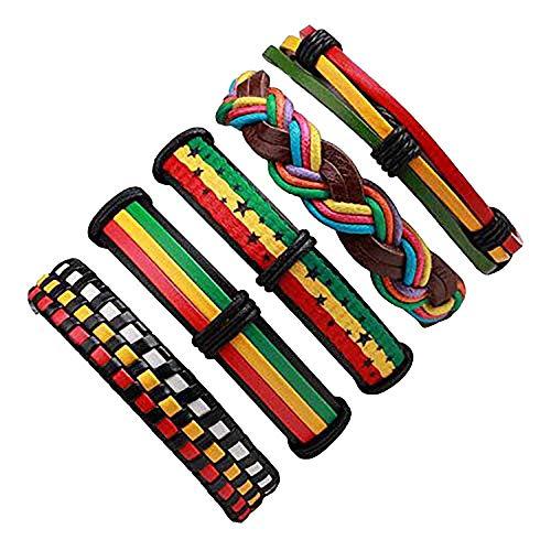 Cheap:cute 3-6 Pcs/Lot Handmade Ethnic Tribal Genuine Wrap Charming Male Pulsera Black Braided Leather Bracelets Bangles,Haya 47