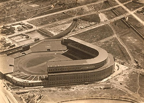 Old Tin Sign Yankee-Stadium-Aerial 1923 Under Construction Yankee Stadium Tin