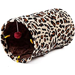PAWZ Road Cat Tunnels Kitten Tubes Portable Cat Toys With a Lot of Fun Leopard Print