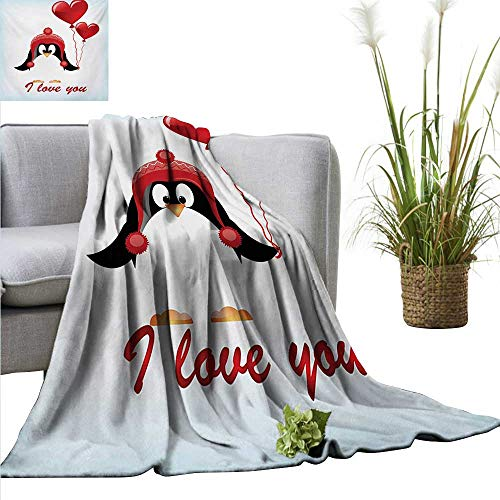 AndyTours Travel Blanket,Valentines,Happy Birthday Balloons I Love You Lettering Cute Funny Penguin Image,Red Black Baby Blue,Cozy Hypoallergenic, Easy to Carry Blanket -