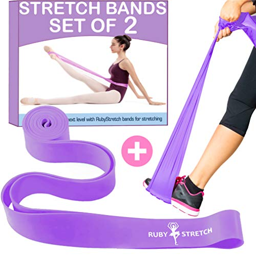 RubyStretch Stretch Bands for Exercise for Kids & Adults Set of 2 Purple
