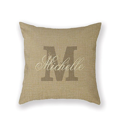 Customized Standard New Arrival Pillowcase Monogrammed Luxury Initial Beige Throw Pillow 18 X 18 Square Cotton Linen Pillowcase Cover Cushion