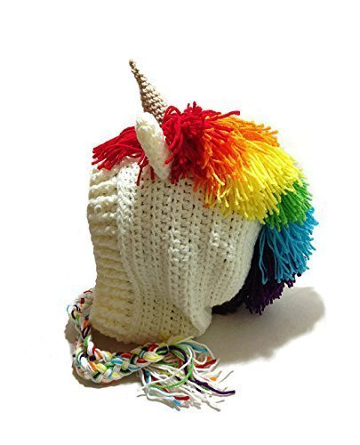 7687066ec0f Amazon.com  Rainbow Unicorn Hood Hat Crochet Pixie Hat Rainbow Unicorns  Beanie Unicorn Cosplay Hood Crochet Unicorn Hat Winter Animal Hood Kawaii  Cosplay ...