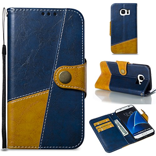 Miagon Wallet Case for Galaxy S7 Edge,Retro Excellent Splice Business Style Magnetic Closure Bookstyle Pu Leather Flip Case Cover with Stand Function for Samsung Galaxy S7 Edge(Blue) ()