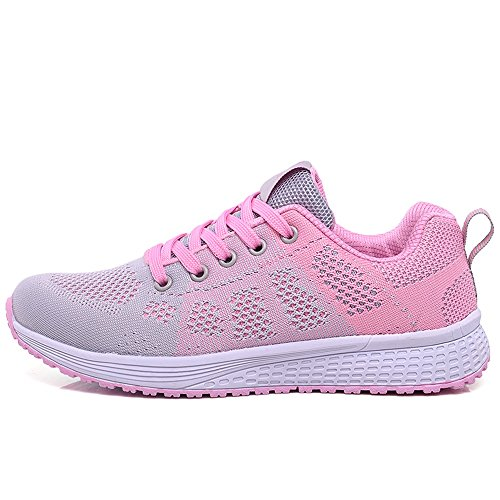 Color Sports shoes cozy Casual Shoes Pink CN39 Jogging Korean EU39 Gym Red Shoes Size UK6 LVZAIXI Flat Version 5Pdq5w