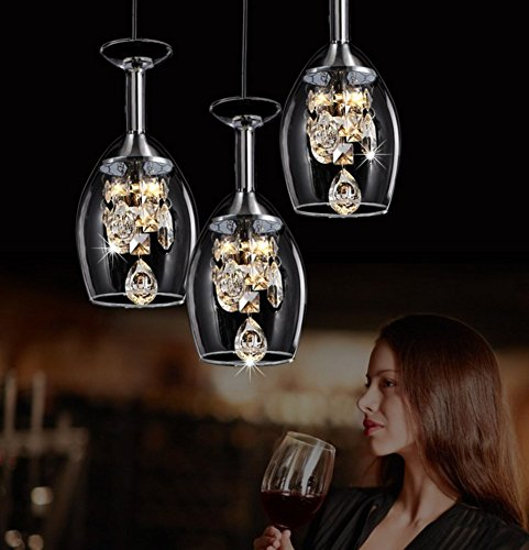 (Crystal Wine glass Pendant chandelier,Led Restaurant Hanging lighting fixtures,Romantic Ceiling light fixture Modern Creativity Three heads For e27-A)