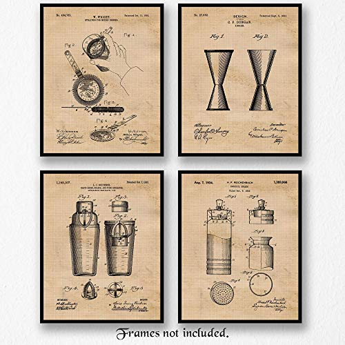 (Original Bartender Cocktail Patent Art Poster Prints- Set of 4 (Four 8x10) Unframed Photos- Great Wall Art Decor Gifts Under $20 for Home, Office, Garage, Man Cave, Lounge-Bar, Mixologist,)