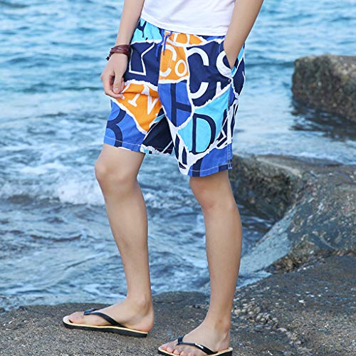 NUWFOR Men's Summer New Cotton Printed Short Sleeves Fashion Loose Size Beach Pants(Blue,US M Waist:25.98-33.86'') by NUWFOR (Image #2)