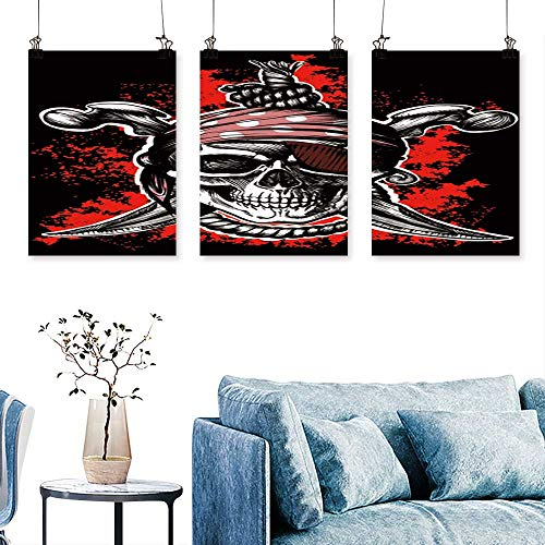 SCOCICI1588 3 Panel Canvas Wall Art Jolly Roger,a Pirate Symbol with Crossed Daggers and a Rope on The Black for Wall Decor Home Decoration No Frame 24 INCH X 35 -