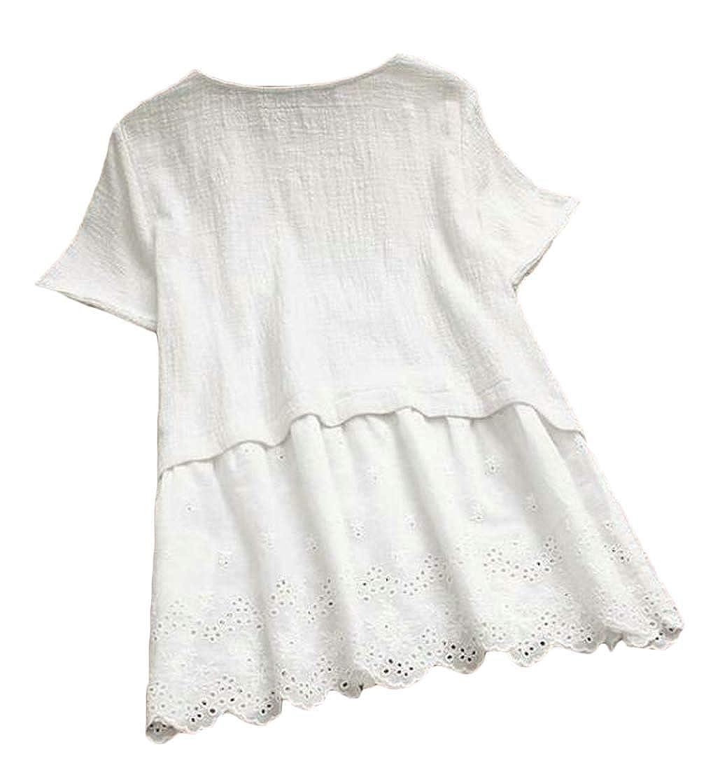 Macondoo Womens Summer Crew Neck Linen Cotton Beach Short Dresses
