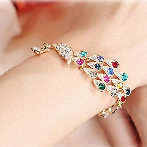 Buy 2 Get 1 Korean fashion new jewelry colorful peacock diamond bracelet sparkling Phoenix bracelets explosion models Specials (Bracelet Sparkling Diamonds)
