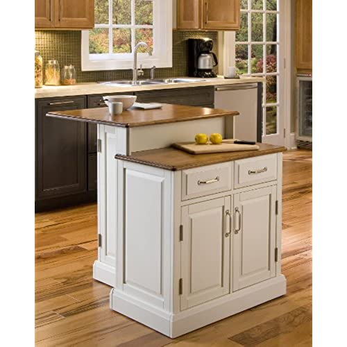Home Styles 5010 94 Woodbridge 2 Tier Kitchen Island, White Finish
