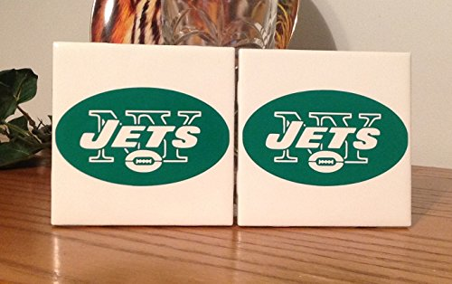 New York Jets ceramic tile coasters (set of 2)