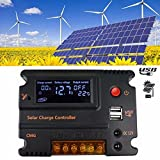 MOHOO 20A 12V 24V LCD Solar Panel Battery Regulator Charge Controller uto Switch LCD Intelligent Overload Protection Temperature Compensation