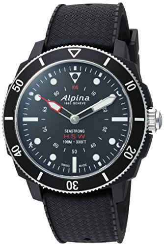Alpina Men's 'Horological' Quartz Stainless Steel and Rubber Smart Watch, Color:Black (Model: AL-282LBB4V6)