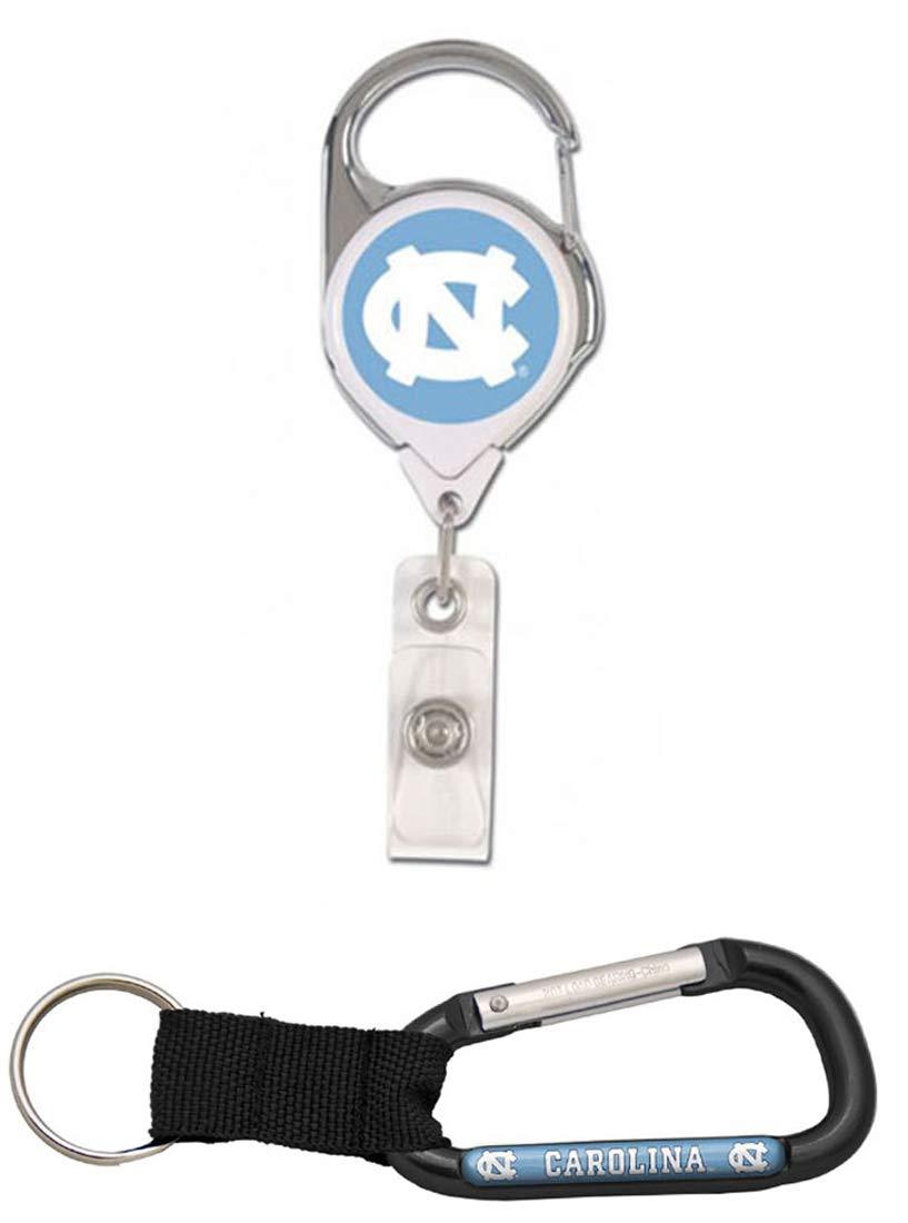 WinCraft Bundle 2 Items: North Carolina Tar Heels UNC Carabiner and 1 Premium Badge Reel Id Holder by WinCraft (Image #1)