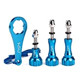 3pcs Aluminum ThumbScrew Set + Wrench for Gopro Session - Hero5 - 4 - 3+ - 3 - 2 - 1 (Blue)