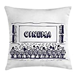 Queen Area Movie Theater Hand Drawn Audience Sitting in Theater Waiting the Movie Square Throw Pillow Covers Cushion Case for Sofa Bedroom Car 18x18 Inch, Navy Blue White