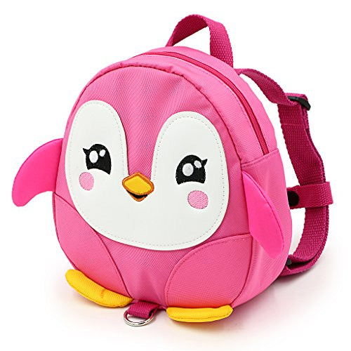 Hipiwe Baby Toddler Walking Safety Backpack Little Kid Boys Girls Anti-lost Travel Bag Harness Reins Cute Cartoon Penguin Mini Backpacks with Safety Leash for Baby 1-3 Years Old (Pink) by Hipiwe (Image #3)