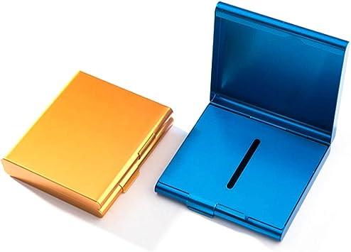 Estuche de Aluminio para Cigarrillos, Estuche de Metal para Cigarrillos Caja con Capacidad para 20 Cigarrillos,Estuche de Almacenamiento para Tabaco,Ideal para Hombres (Dorado, Azul),2 Piezas: Amazon.es: Equipaje