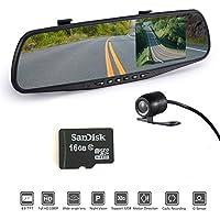 Oterleek Full HD 1080P Car Dvr Camera 4.3 Inch Rearview Mirror Digital Video Recorder Dual Lens Registrar Camcorder with 16GB TF Card