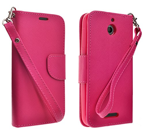 brand new 3a87f 9e595 HTC Desire 512 Case, HTC Desire 510 Leather Wallet Case, Slim Flip Folio  [Kickstand Feature] Genuine Black Leather Wallet Case with ID&Credit Card  ...