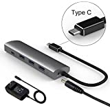 Vetap USB C to USB Hub Adapter with 3 USB A USB 3.0 and 1 USB C USB 3.1 Gen1 for MacBook/ChromeBook Pixel and More Type C Devices,Aluminum Charger with AC Power Adapter (TYPE C HUB)