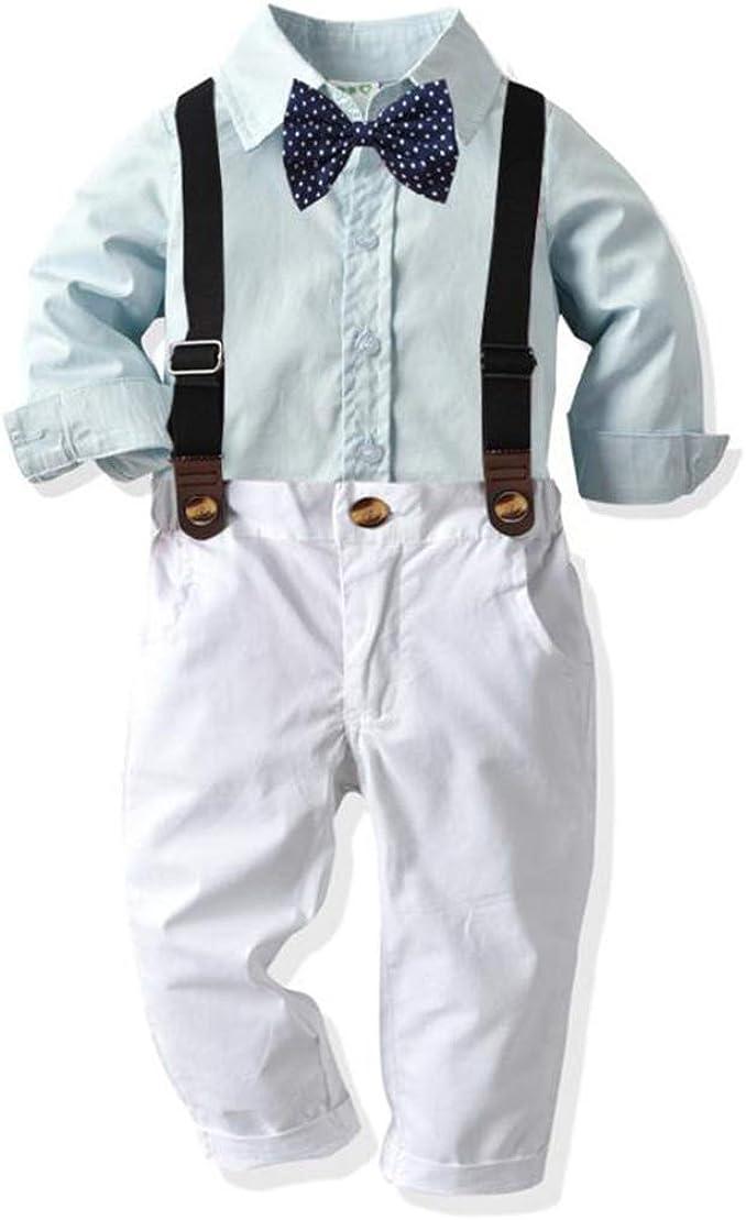 AceAcr Baby Boys Dress Suit Set Gentleman Outfit Bowtie Shirt Suspender Pants Set