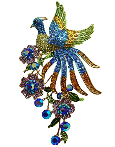 Flower Pin Pendant (TTjewelry Fashion Colorful Peacock Brooch Pin with Flower Austrian Crystal Pendant B10646803)
