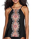 Miraclesuit Women's Mandala Peephole High Neck Tankini Top Black 14