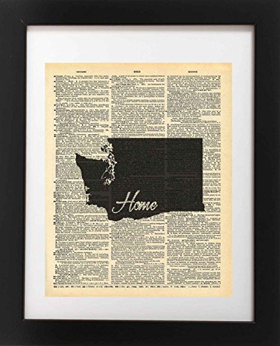 Washington State Vintage Map Vintage Dictionary Print 8x10 inch Home Vintage Art Abstract Prints Wall Art for Home Decor Wall Decorations For Living Room Bedroom Office Ready-to-Frame Home