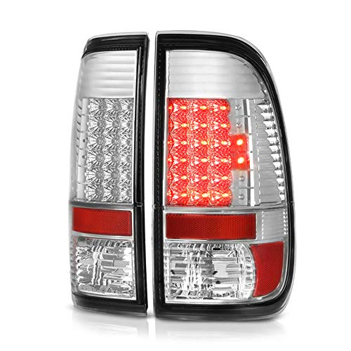 Chrome 2002 Led - VIPMOTOZ For 1997-2003 Ford F-150 1999-2007 F-250 F-350 Super Duty Chrome Bezel LED Tail Light Housing Lamp Assembly Driver and Passenger Side Replacement