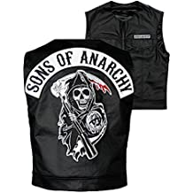 Sons Of Anarchy Officially Licensed Black Redwood Original Samcro Biker Vest With Reaper Patch - 4XL