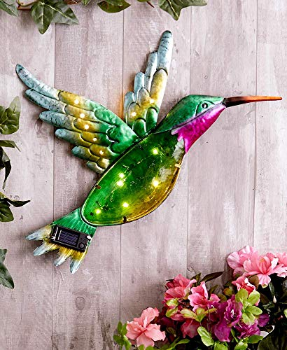 The Lakeside Collection Solar Glass and Metal Hummingbird Wall Hanging - - Hummingbird Wall Hanging