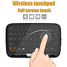 Tripsky H18 2.4GHz Wireless Whole Panel Touchpad and Mini Keyboard, Handheld Remote with Touchpad Mouse for Android TV Box, Windows PC, HTPC, IPTV, Raspberry Pi, XBOX 360, PS3, PS4(Black)