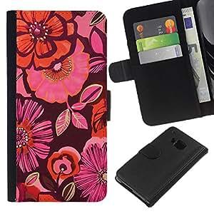 KingStore / Leather Etui en cuir / HTC One M7 / Orange Purple Flores rosas