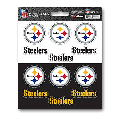 (ProMark NFL Pittsburgh Steelers DecalDecal Set Mini 12 Pack, Team Colors, One Size)