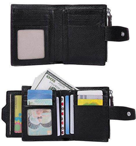 Id with Small Orange Wallet Leather Purse Bi Black fold Zipper Lichee Women's Lichee Big Blocking AINIMOER Sale RFID Compact Card Case Pocket Window qT7YaT