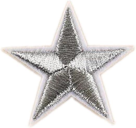 ximkee (Pack de 20) Star Collection bordado Sew hierro en parches apliques gris: Amazon.es: Hogar