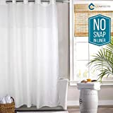 Hookless Shower Curtain by COMFECTO, [NO SNAP IN LINER] 77x70 Inch Hotel Bathroom Curtains with Light-Filtering Mesh Screen and Magnets, Machine Washable, White