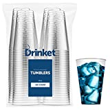 DRINKET Tall Plastic Cups Heavy Duty Hard Plastic Cups 14 oz Cups Clear Wine Tumbler Disposable For Party Cocktail Whiskey Beer Scotch Champagne Flutes 100 Count Bulk Water Punch Drinking Cup