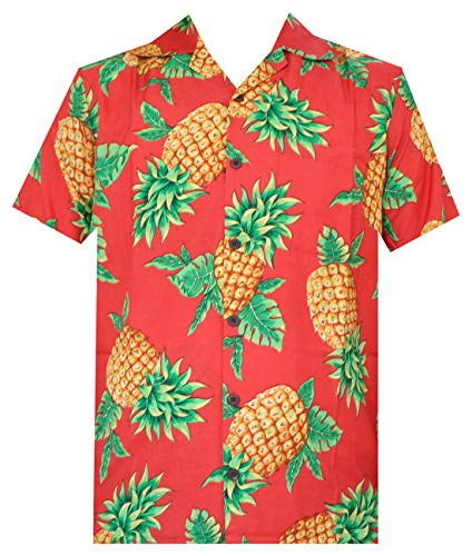 (Hawaiian Shirts 50 Mens Pineapple Leaf Beach Aloha Casual Holiday Red S)