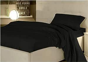 Completo juego sábanas fundas negro 1 plaza y media lisa 100% Puro Algodón Made in Italy: Amazon.es: Hogar