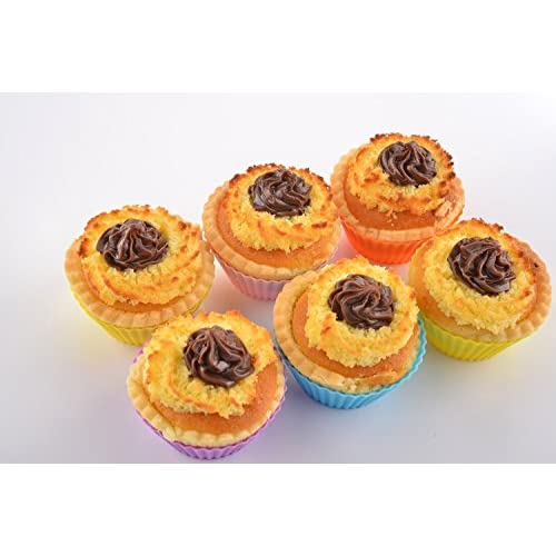 FollowFar Silicone Cake Box Bake Muffins Cup Set Bakery Cup Mold Egg Tart Cup Pudding Mold (24 Pack Silicone Cupcake Liners +12 Pack Aluminum Cupcake Liners)