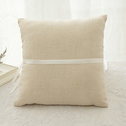 WoodBury Wedding Ring Bearer Pillow Lace Floral Ivory Brown(8 Inch x 8 Inch) by Wood Bury (Image #3)