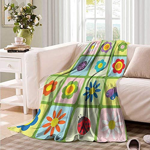 Oncegod Soft Warm Coral Fleece Blanket Ladybugs Tulip Butterflies Childish car/Airplane Travel Throw 84